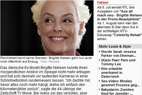, Tackern, Lochen, Abheften: Schönheits-OPs mit Brigitte Nielsen